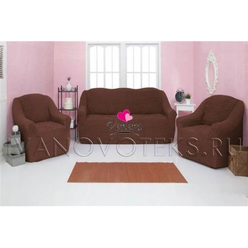 201 Чехол на диван и два кресла без оборки шоколад
