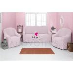 207 Чехол на диван и два кресла без оборки розовый