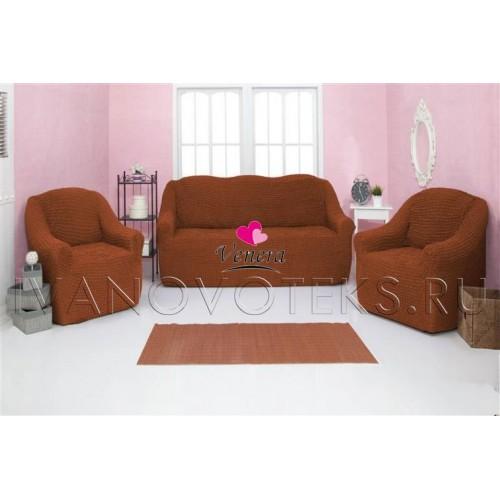 209 Чехол на диван и два кресла без оборки горчичный