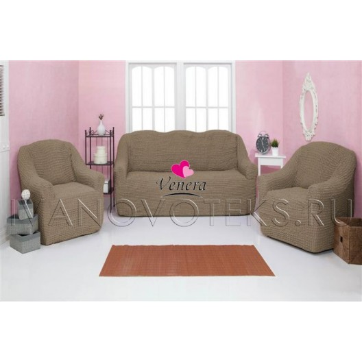 220 Чехол на диван и два кресла без оборки темно-оливковый