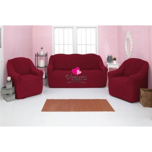 221 Чехол на диван и два кресла без оборки бордовый