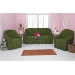 222 Чехол на диван и два кресла без оборки зеленый