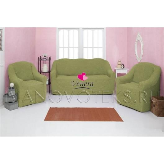 228 Чехол на диван и два кресла без оборки фисташковый