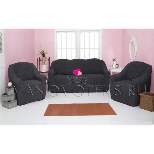 229 Чехол на диван и два кресла без оборки мокрый асфальт