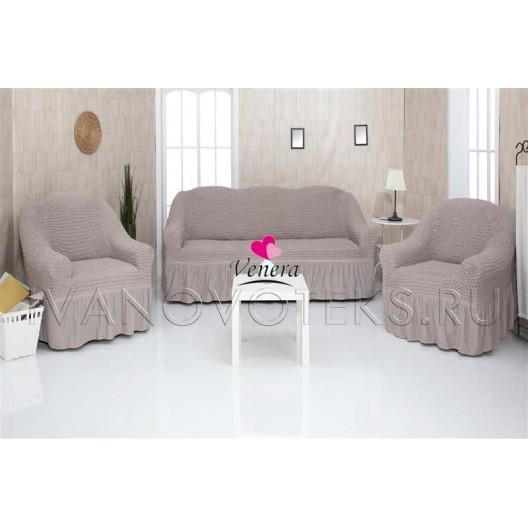 205 Чехлы на диван и два кресла серый-капучино