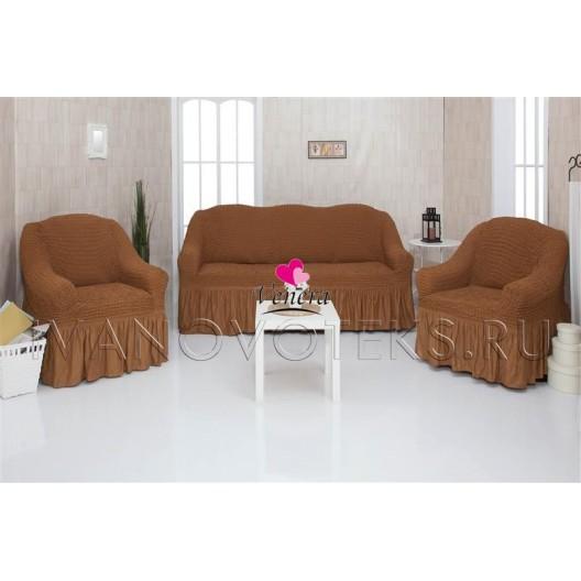 210 Чехлы на диван и два кресла коричневый