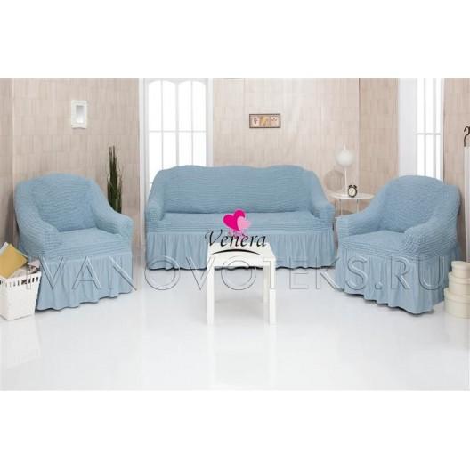 215 Чехлы на диван и два кресла бирюзовый