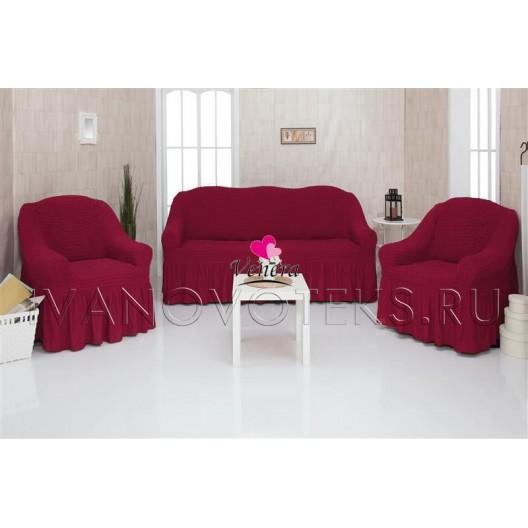 221 Чехлы на диван и два кресла бордо