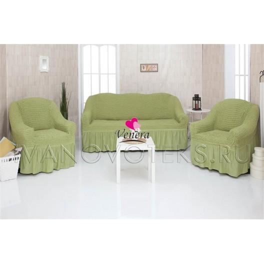 228 Чехлы на диван и два кресла фисташковый