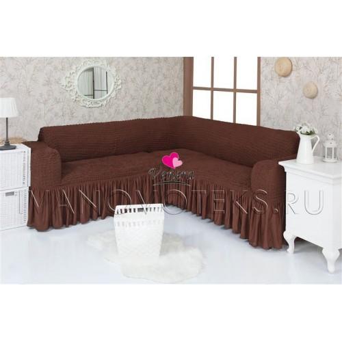 201 Чехол на угловой диван шоколад