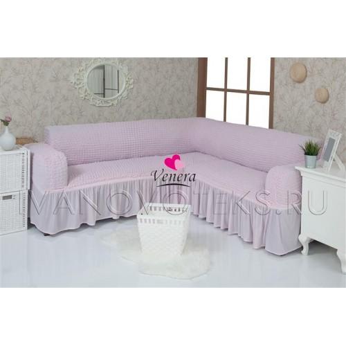 207 Чехол на угловой диван розовый