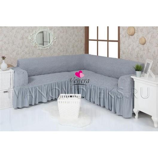 216 Чехол на угловой диван серый