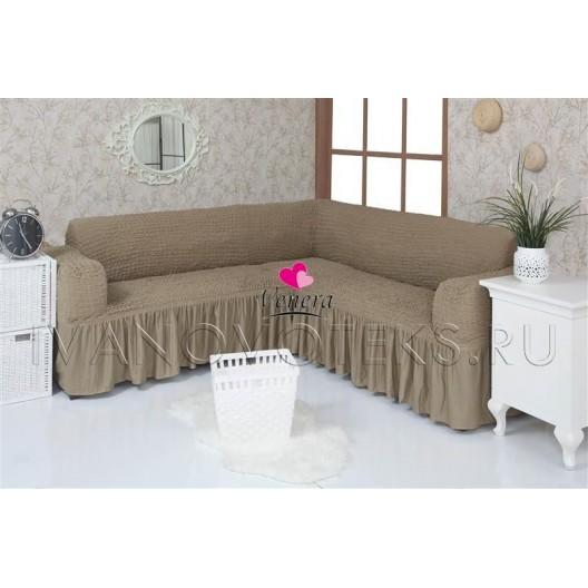 220 Чехол на угловой диван темно-оливковый