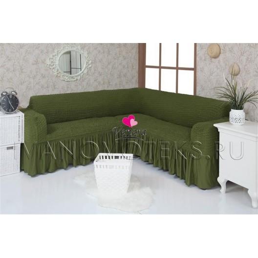 222 Чехол на угловой диван зеленый