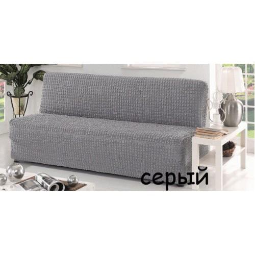 Чехол на диван без подлокотников серый