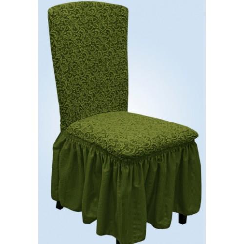 Чехол на стул жаккард зеленый