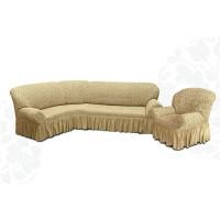 Чехол на угловой диван и кресло жаккард