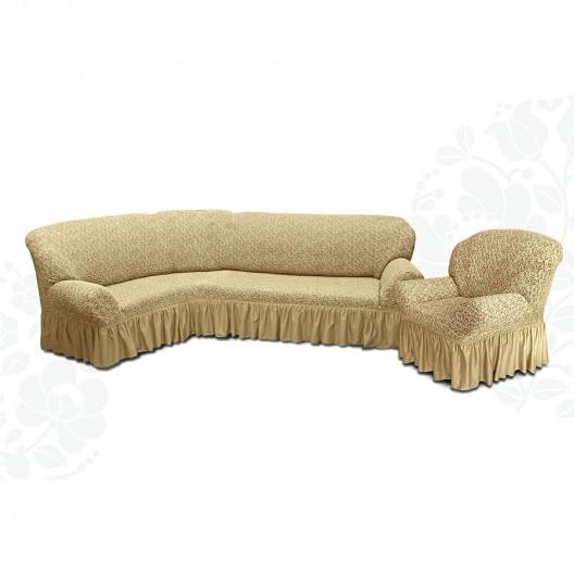 Чехол на угловой диван и кресло жаккард бежевый