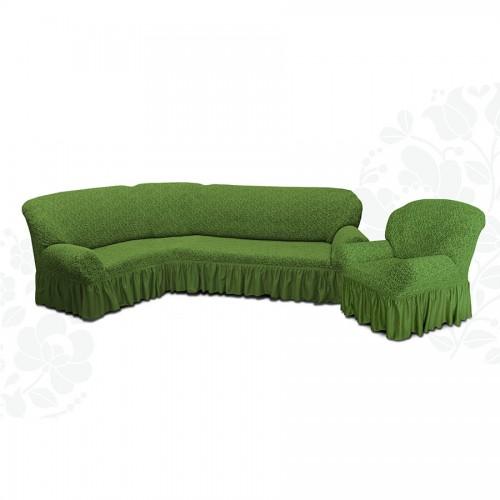 Чехол на угловой диван и кресло жаккард зеленый