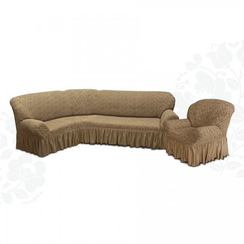 Чехол на угловой диван и кресло жаккард какао