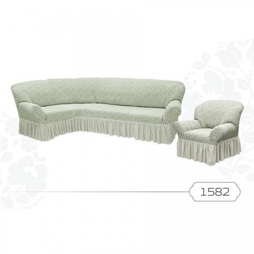 Чехол на угловой диван и кресло жаккард кремовый