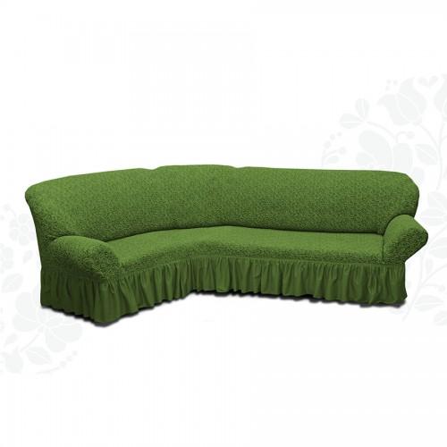 Чехол на угловой диван жаккард зеленый
