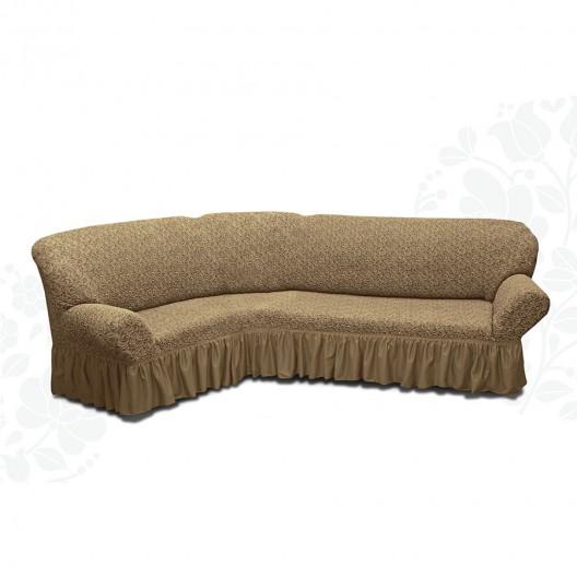 Чехол на угловой диван жаккард какао