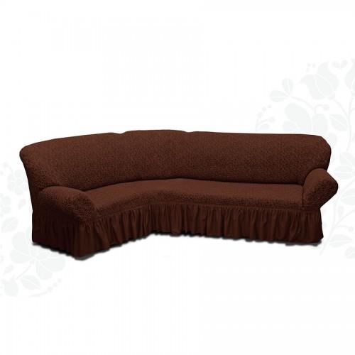 Чехол на угловой диван жаккард шоколад