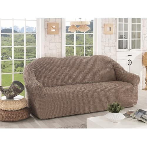 Чехол на диван без оборки кофейный