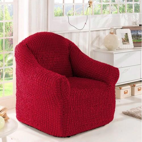 Чехол на кресло без оборки бордовый