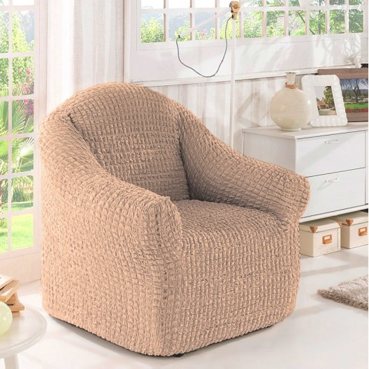 Чехол на кресло без оборки кофе с молоком