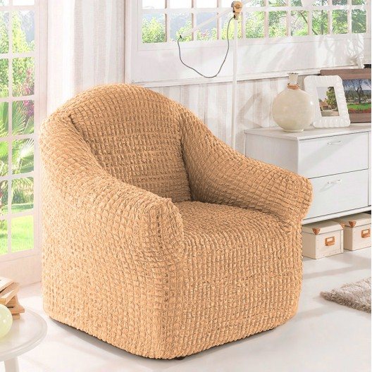 Чехол на кресло без оборки песочный