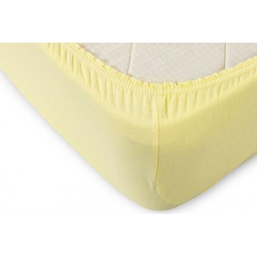 Простынь на резинке желтый