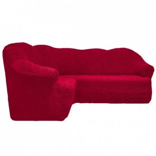 Чехол на угловой диван без оборки бордовый