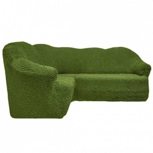 Чехол на угловой диван без оборки зеленый