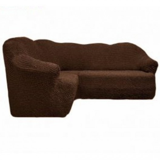 Чехол на угловой диван без оборки коричневый