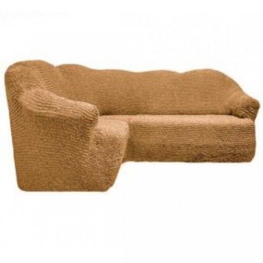 Чехол на угловой диван без оборки медовый