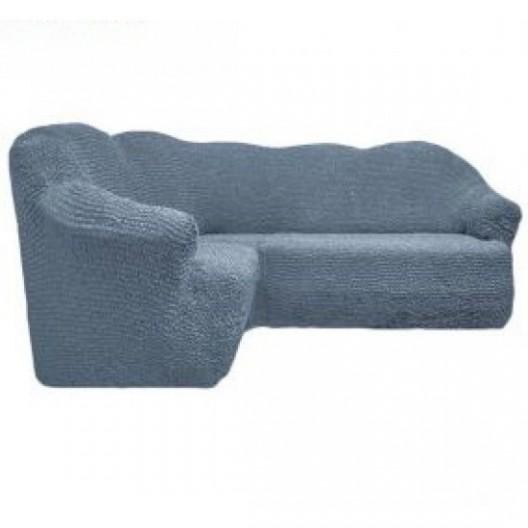 Чехол на угловой диван без оборки серый