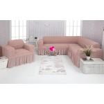 Чехол на угловой диван и кресло с оборкой (29)