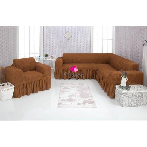 Чехол на угловой диван и кресло 210