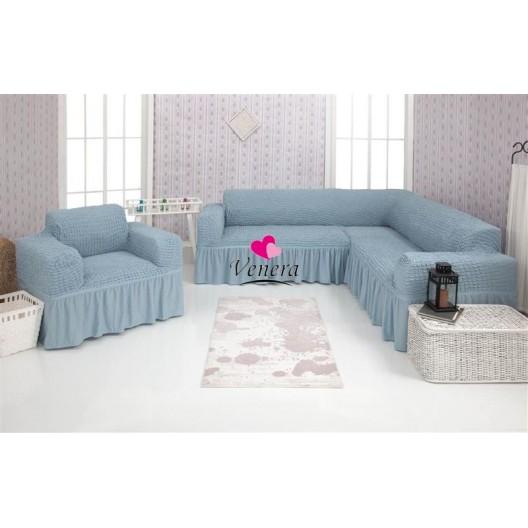 Чехол на угловой диван и кресло 215