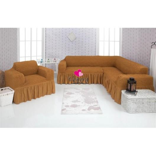 Чехол на угловой диван и кресло 219