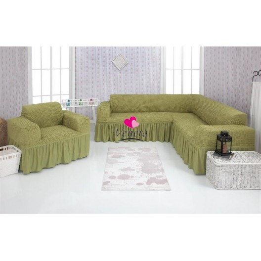 Чехол на угловой диван и кресло 228
