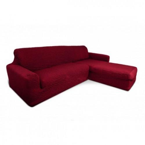 Чехол на угловой диван с оттоманкой бордовый с правым углом