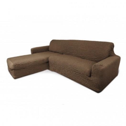 Чехол на угловой диван с оттоманкой капучино с левым углом