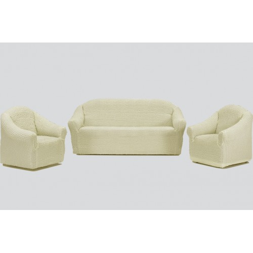 Чехол на диван и два кресла без оборки шампань