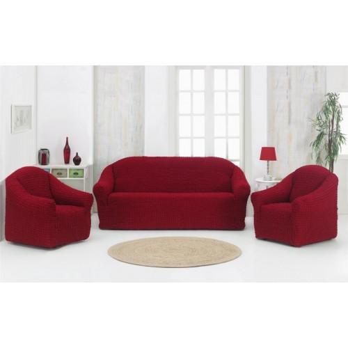 Чехол на диван и два кресла без оборки бордовый