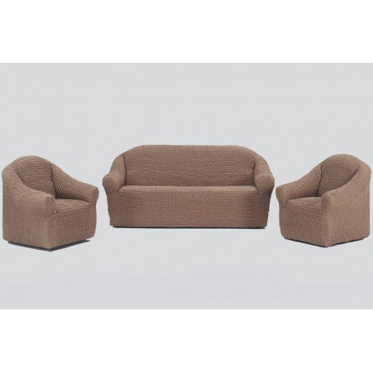 Чехол на диван и два кресла без оборки кофейный