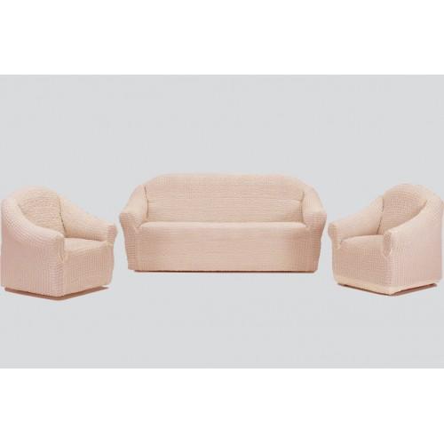 Чехол на диван и два кресла без оборки натуральный