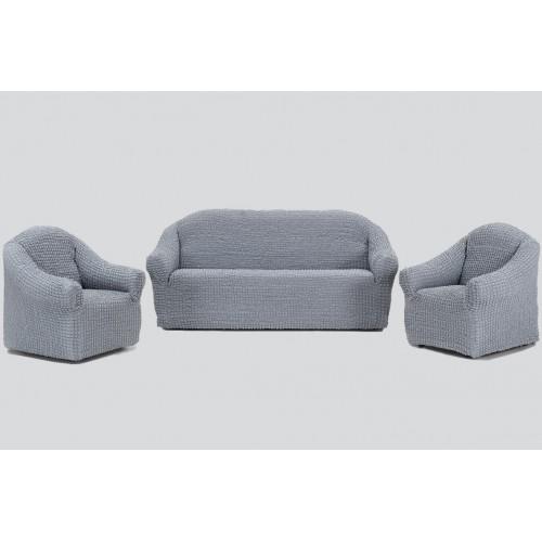 Чехол на диван и два кресла без оборки серый